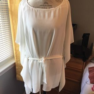 NWT Michael Kors white tunic belted top